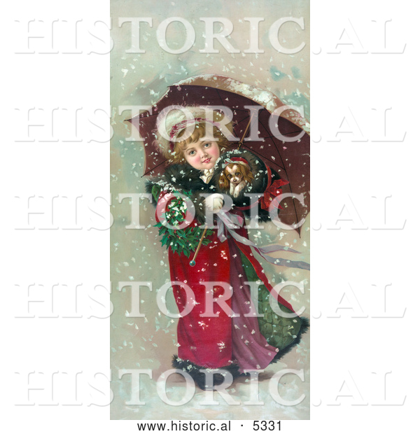 Historical Illustration of a Girl and Dog in Snow Storm