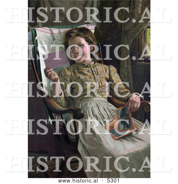 Historical Illustration of a Happy Girl Sitting in a Rocking Chair and Looking at Photographs