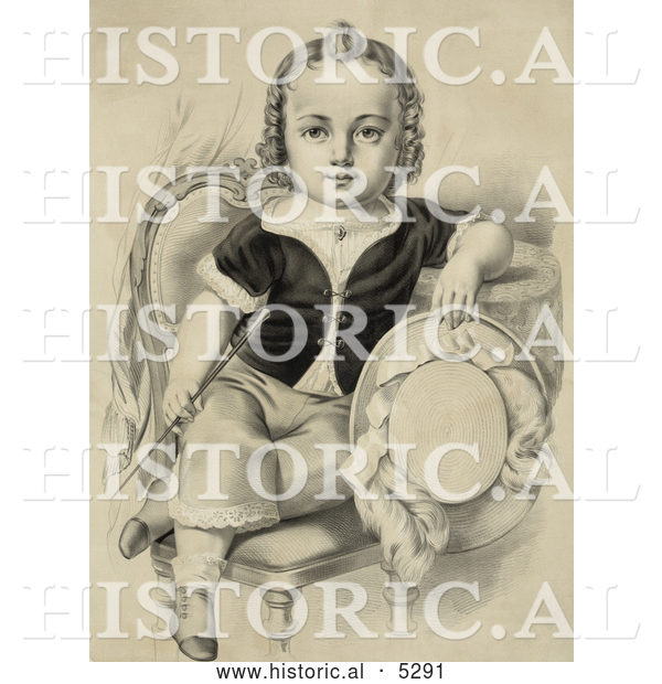 Historical Illustration of a Little Boy or Girl Sitting in a Chair, Holding a Riding Crop and Hat