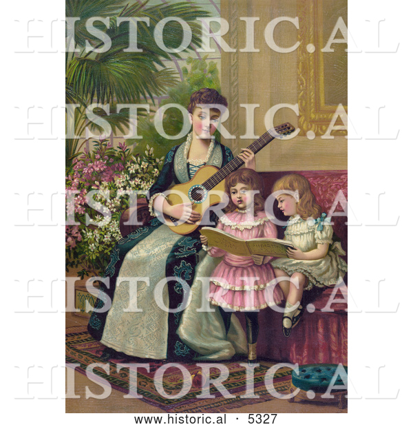 Historical Illustration of a Mother and Two Little Girls Singing a Christmas Carol