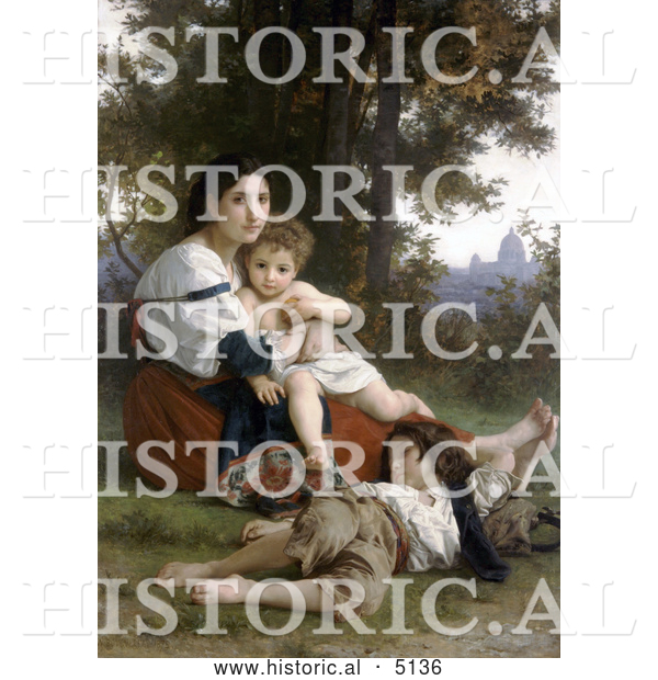 Historical Illustration of a Woman and Her Two Children Resting by Trees, Rest by William-Adolphe Bouguereau