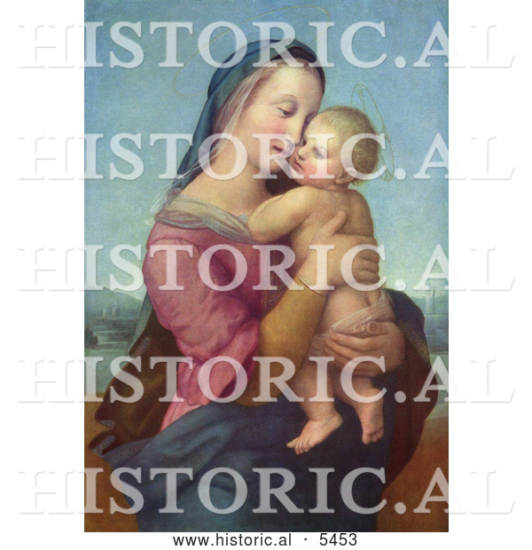 Historical Illustration of a Woman Holding a Baby, Tempi Madonna by Raphael