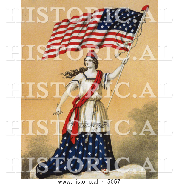 Historical Illustration of a Woman, Portrayed As Lady Liberty, Holding a Sword and American Flag