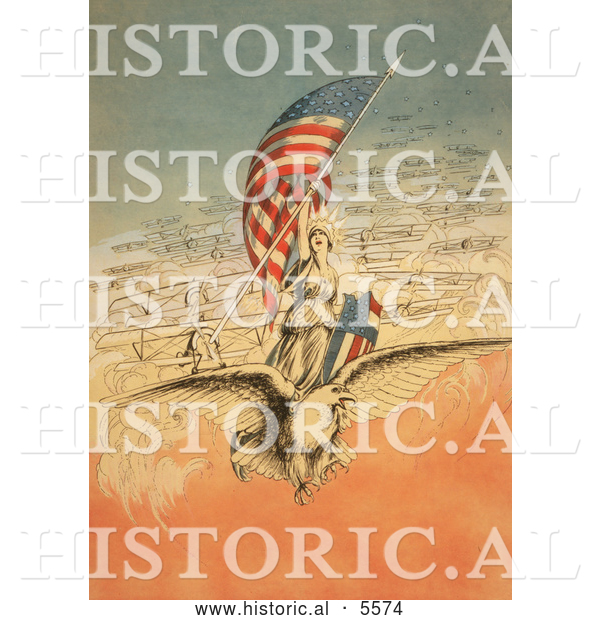 Historical Illustration of Columbia on an Eagle, Holding Flag, Followed by Airplanes