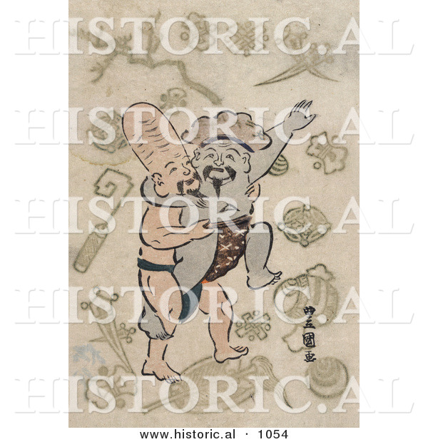 Historical Illustration of Daikoku and Fukurokuju, Sumo Wrestling