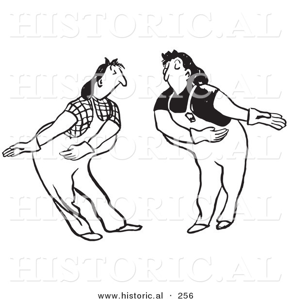 Historical Illustration of Female Cartoon Workers Bowing to Each Other While Permitting the Other to Proceed - Outlined Version
