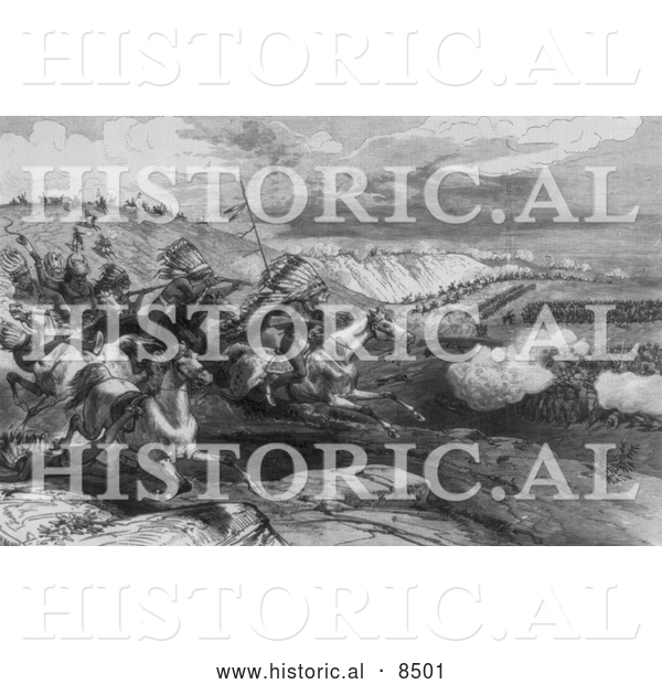 Historical Illustration of General Crook's Battle on the Rosebud River 1876 - Black and White Version