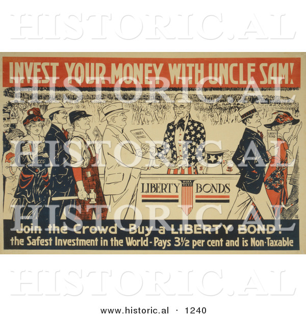 Historical Illustration of Invest Your Money with Uncle Sam - Join the Crowd - Buy Liberty Bonds