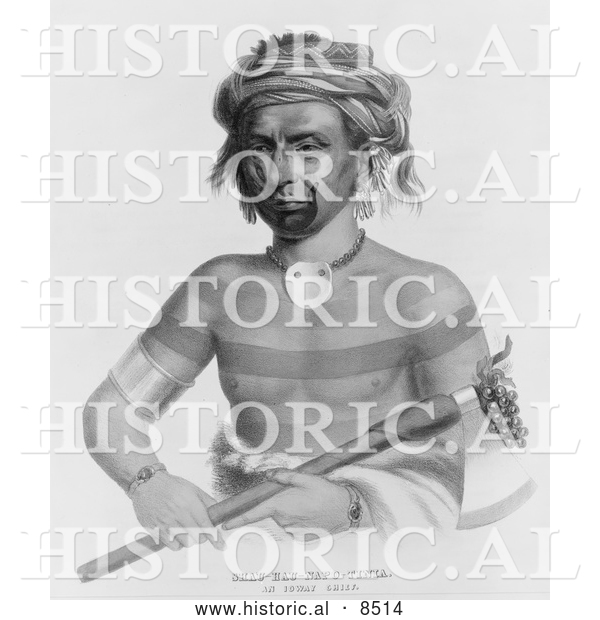 Historical Illustration of Ioway Indian Chief Named Shau-Hau-Napo-Tinia - Black and White Version