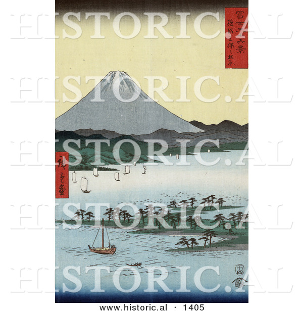 Historical Illustration of Japanese Sailboats Around Pine Grove on Promontory near Mt Fuji, Suruga Bay, Miho, Japan