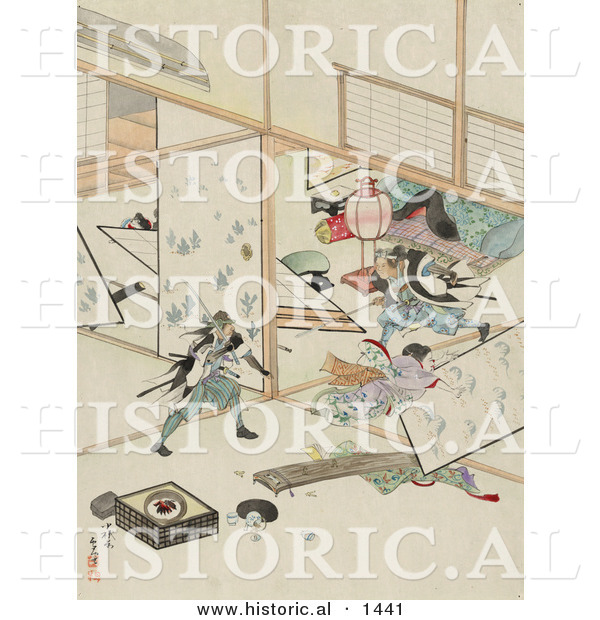 Historical Illustration of Japanese Samurai Men Wrecking the Interior of a House During a Sword Fight