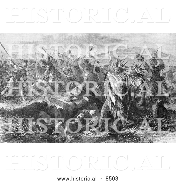 Historical Illustration of Massacre of United States Troops by the Sioux and Cheyenne India 1866 - Black and White Version