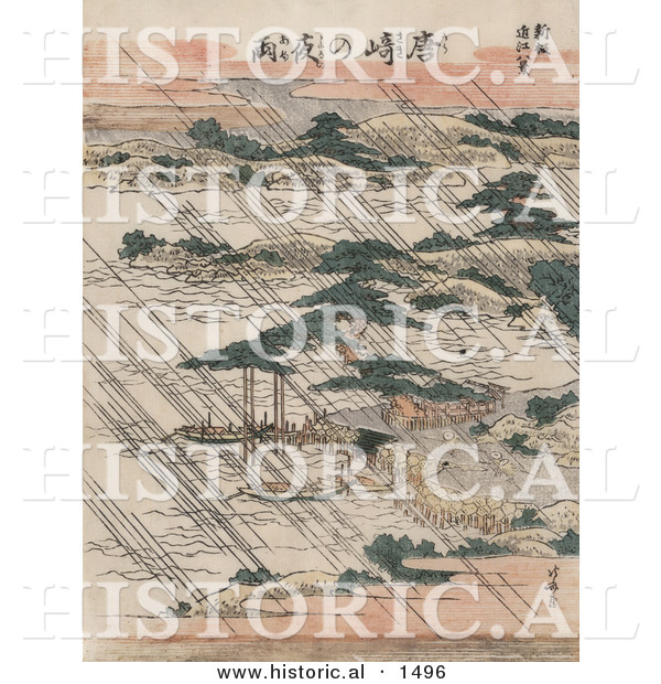 Historical Illustration of Rain over Lake Biwa and Karasaki Pine, Japan