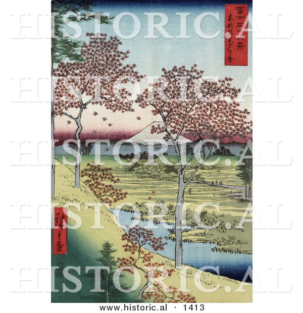 Historical Illustration of Red Leaved Maple Trees near a Stream on