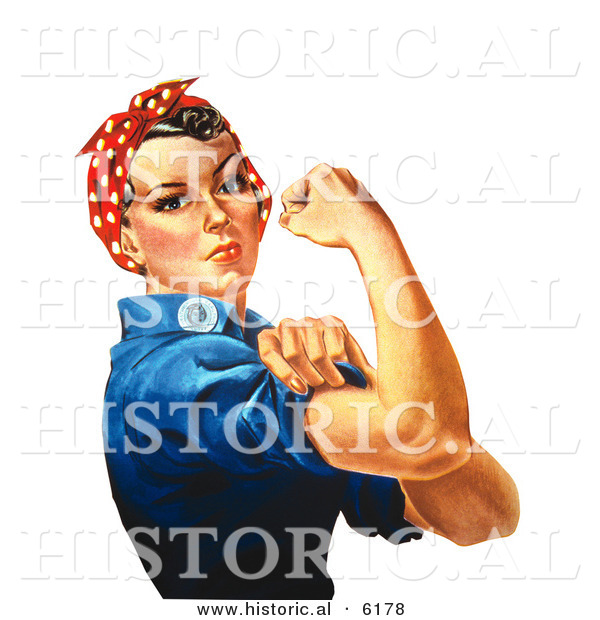 Historical Illustration of Rosie the Riveter Flexing Her Right Arm