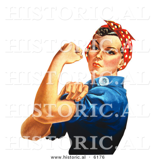 Historical Illustration of Rosie the Riveter Flexing Left Arm
