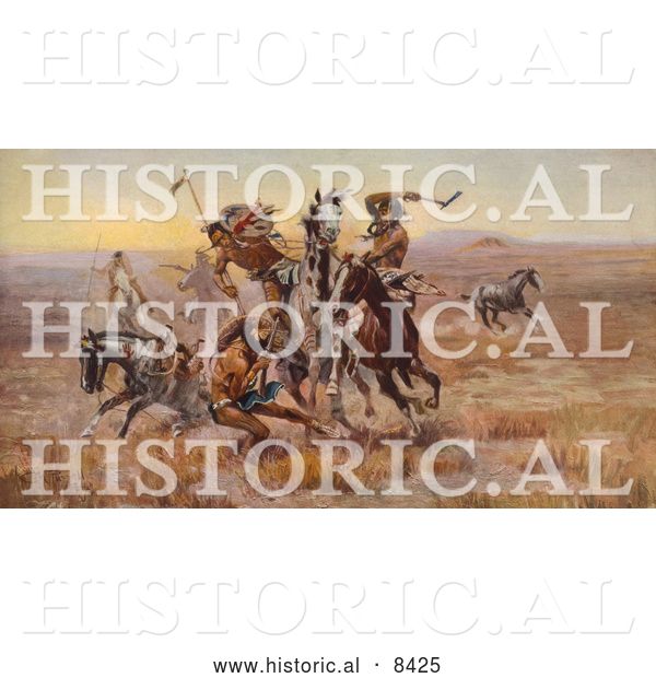 Historical Illustration of Sioux and Blackfeet Indian Battle 1902