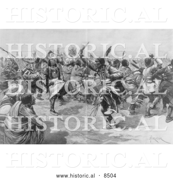 Historical Illustration of Sioux Indian Ghost Dance - Black and White Version