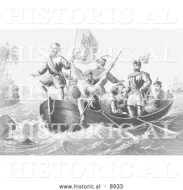 Historical Illustration of the Landing of Columbus at San Salvador 1492 - Black and White Version