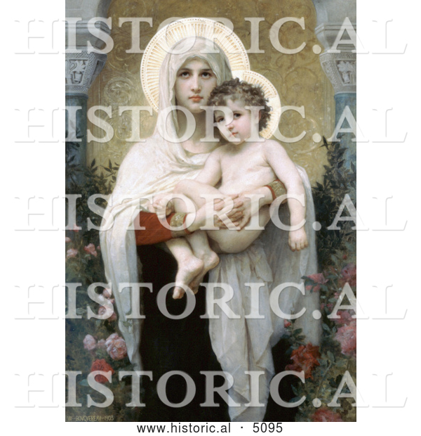 Historical Illustration of the Madonna of the Roses by William-Adolphe Bouguereau