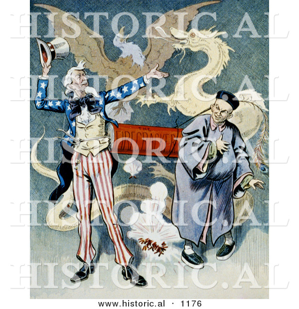 Historical Illustration of Uncle Sam Beside a Chinese Man Connected to a Firecracker with a Dragon and Eagle in the Background