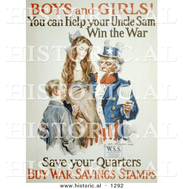Historical Illustration of Uncle Sam: Boys and Girls! You Can Help Win the War - Save Your Quarters - Buy War Savings Stamp