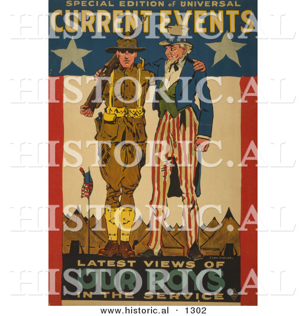 Historical Illustration of Uncle Sam: Current Events - Latest Views of Our Boys in the Service