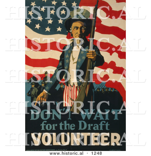 Historical Illustration of Uncle Sam: Don't Wait for the Draft, Volunteer Now!