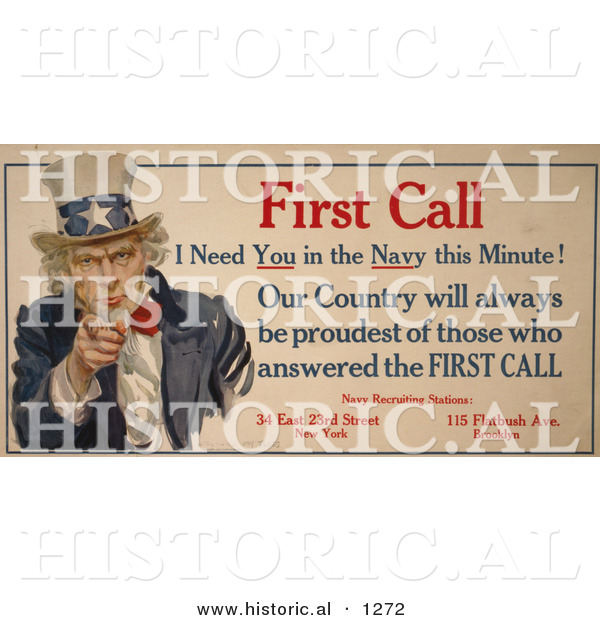 Historical Illustration of Uncle Sam: First Call I Need You in the Navy This Minute! - Navy Recruiting Station