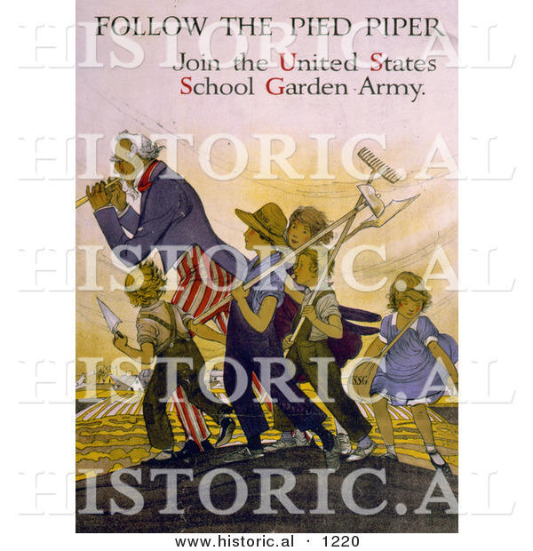 Historical Illustration of Uncle Sam: Follow the Pied Piper and Join the United States School Garden Army