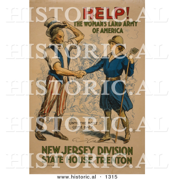 Historical Illustration of Uncle Sam: HELP! the Woman's Land Army of America - Until the Boys Come Back - New Jersey Division State House. Trenton