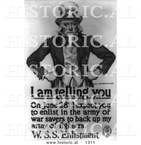 Historical Illustration of Uncle Sam: I Am Telling You to Enlist in the Army by June 28th - Black and White Version