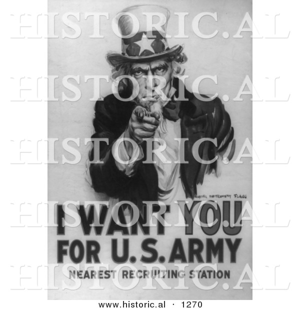 Historical Illustration of Uncle Sam: I Want You for US Army - Black and White Version