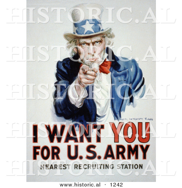 Historical Illustration of Uncle Sam: I Want You for US Army - Nearest Recruiting Station