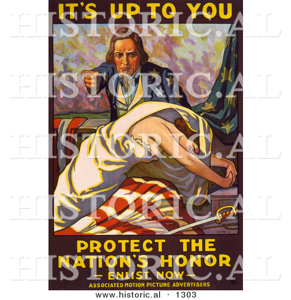 Historical Illustration of Uncle Sam: It's up to You - Protect the Nation's Honor - Enlist Now