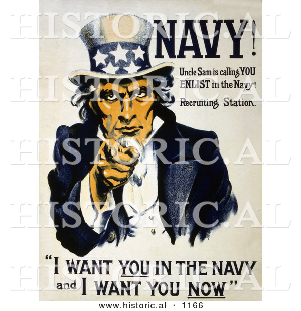 "Historical Illustration of Uncle Sam Poster Quote ""I Want You in the Navy and I Want You Now"""