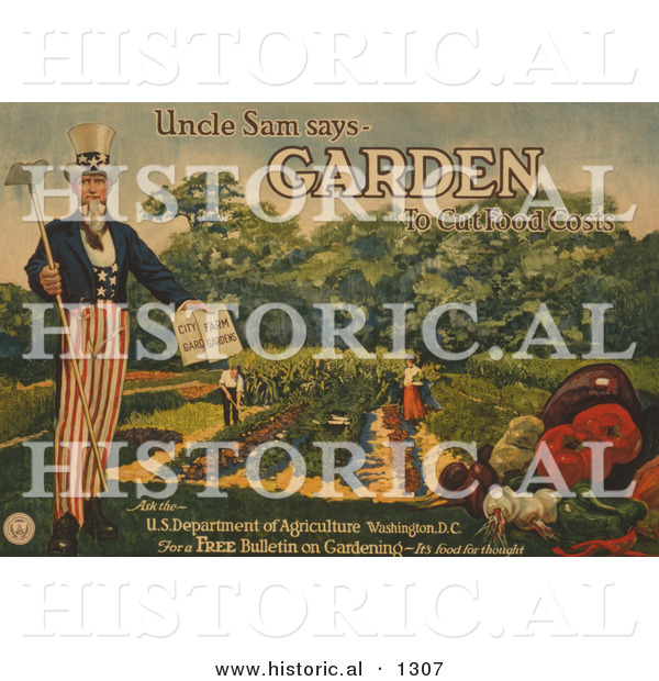 "Historical Illustration of Uncle Sam Says ""Garden to Cut Food Costs"" - United States Department of Agriculture - Free Bulletin on Gardening - It's Food for Thought"