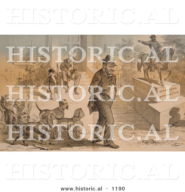 Historical Illustration of Uncle Sam Seated with Ulysses S. Grant Statue - Vicksburg Appomattox