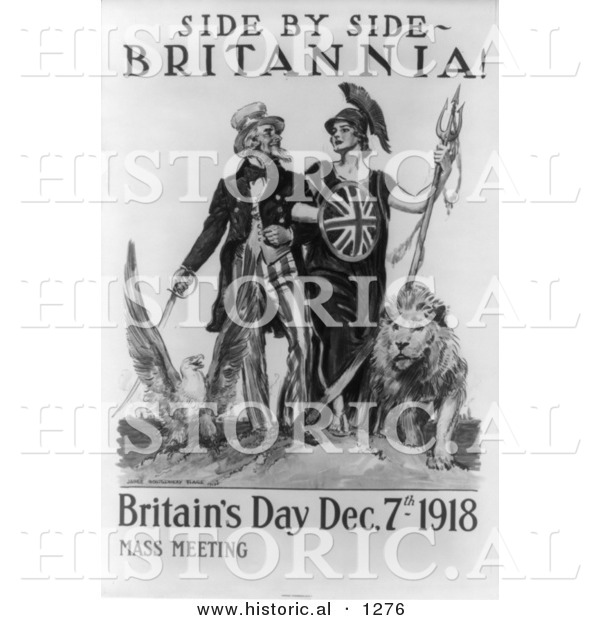 Historical Illustration of Uncle Sam: Side by Side Britannia 1918
