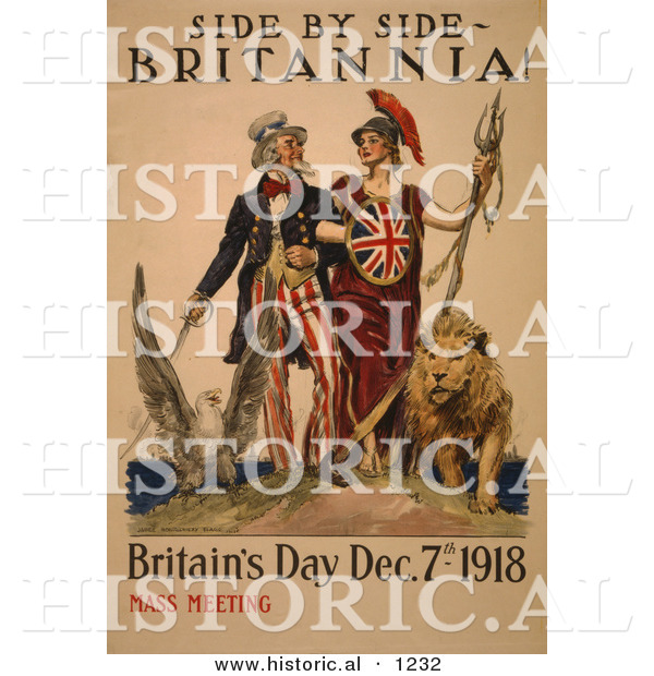 Historical Illustration of Uncle Sam: Side by Side - Britannia! - Britain's Day Dec. 7th, 1918 - Mass Meeting