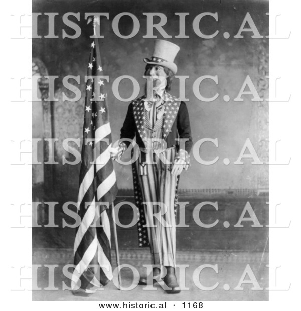 Historical Illustration of Uncle Sam Standing Beside an American Flag, 1898 - Black and White