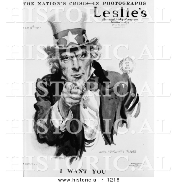 Historical Illustration of Uncle Sam: the Nation's Crisis - I Want You - Black and White Version