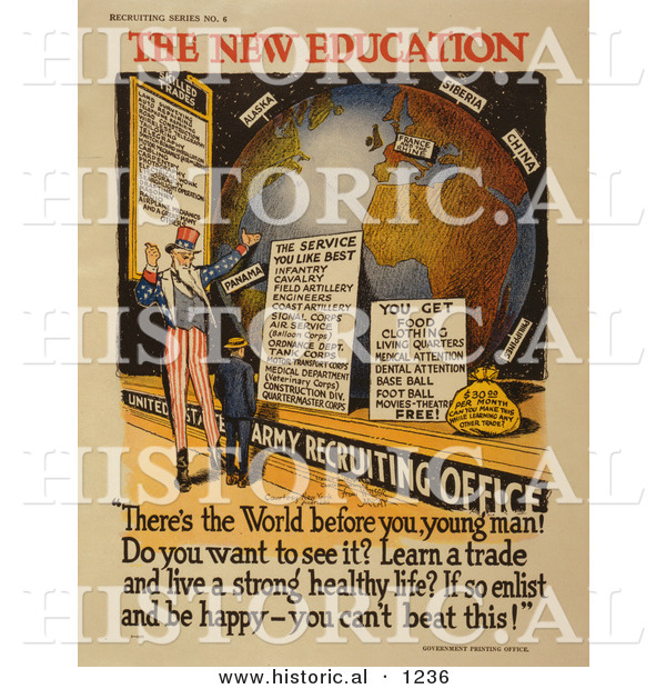 Historical Illustration of Uncle Sam: the New Education - Army Recruiting Office