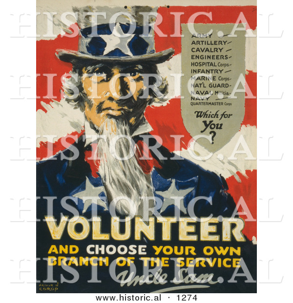 Historical Illustration of Uncle Sam: Volunteer, and Choose Your Own Branch of the Service
