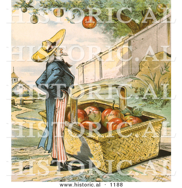 Historical Illustration of Uncle Sam Waiting for Apples to Fall from a Tree in to His Big Basket - Patient Waiters Are No Losers 1897