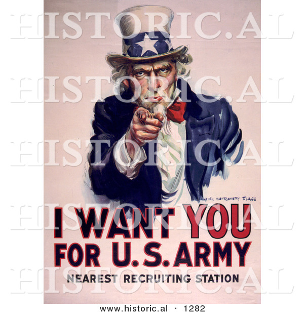 Historical Illustration of Uncle Sam Wants You for the U.S. Army