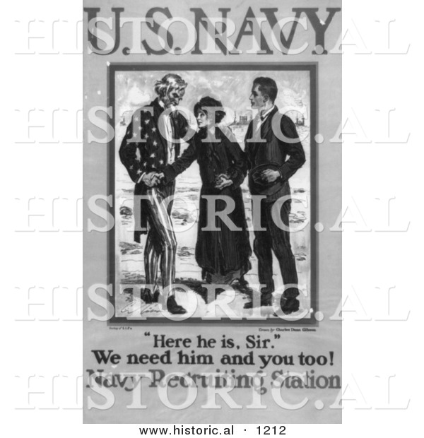 Historical Illustration of Uncle Sam: We Need Him and You Too! - American Navy Recruiting Station - Black and White Poster