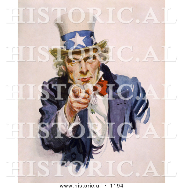 Historical Illustration of Uncle Sam Wearing a Starred Hat While Pointing His Finger Towards You