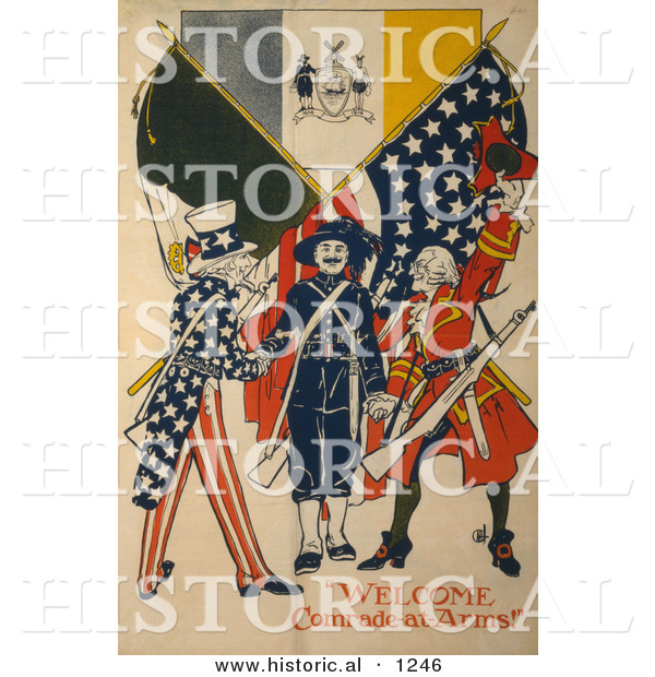 Historical Illustration of Uncle Sam: Welcome Comrade-at-Arms!