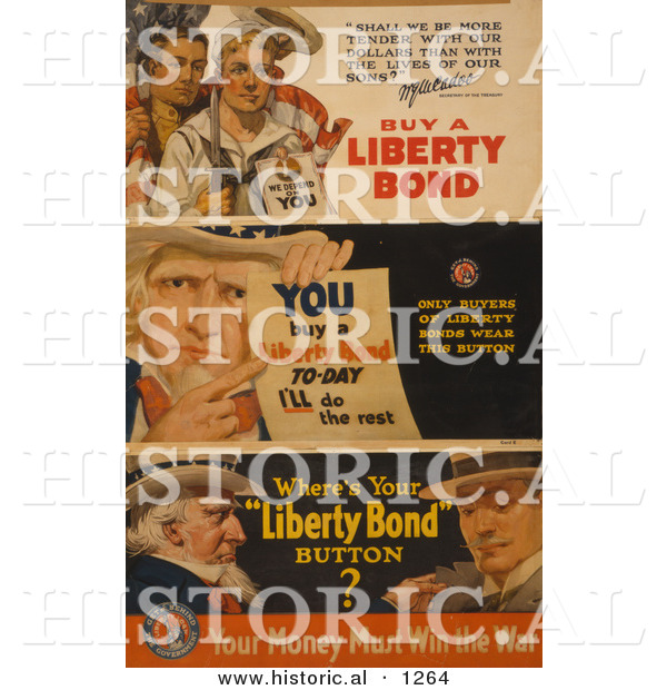 Historical Illustration of Uncle Sam: You Buy a Liberty Bond Today and I'll Do the Rest